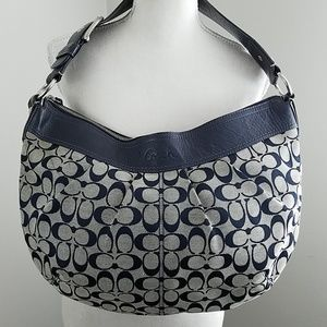 Coach F13741 Soho Pleated Hobo Navy Leather Trim